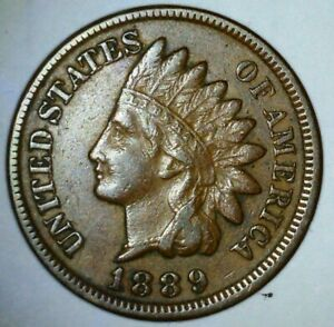 1889 INDIAN HEAD CENT XF FULL LIBERTY  3 DIAMONDS STRONG FEATHERS SHIELD LOT CB7