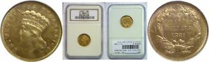 1881 $3 GOLD COIN NGC MS 61
