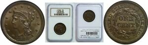 1848 LARGE CENT NGC MS 66 BN