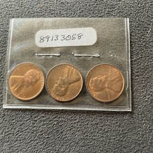 WHEAT PENNY LOT 1945 1945 D 1945 S RED BU SET 1945P 1945D 1945S LINCOLN CENT