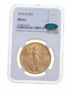 MS62 1914 D $20 SAINT GAUDENS GOLD DOUBLE EAGLE   CAC   GRADED NGC  5313