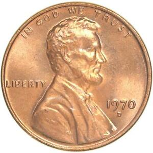 1970 D LINCOLN MEMORIAL CENT CHOICE BU PENNY US COIN