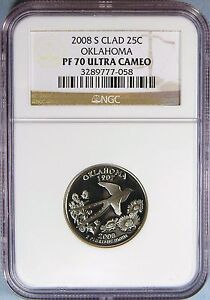 Click now to see the BUY IT NOW Price! 2008 S CLAD OKLAHOMA STATE QUARTER NGC PF 70 UC   EK 36