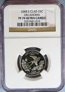 Click now to see the BUY IT NOW Price! 2008 S CLAD OKLAHOMA STATE QUARTER ULTRA CAMEO  NGC PF 70 UC   EK 54