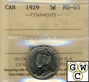Click now to see the BUY IT NOW Price! 1929 CANADIAN 5 CENT COIN ICCS CERTIFIED MS 65  WOW