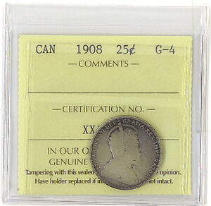 CANADA 1908 25 CENTS ICCS CERTIFIED G 4 KEY DATE KING EDWARD VII