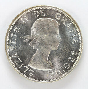 Click now to see the BUY IT NOW Price! 1953 CANADA SILVER HALF DOLLAR ELIZABETH II LG/DATE S/F   CH BU 01283484G