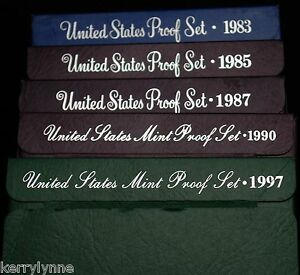 Click now to see the BUY IT NOW Price!  5  UNITED STATES PROOF SET  1983 1985 1987 1990 1997
