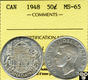 Click now to see the BUY IT NOW Price! 1948 CANADIAN 50 CENT COIN ICCS CERTIFIED MS 65  WOW KEY DATE