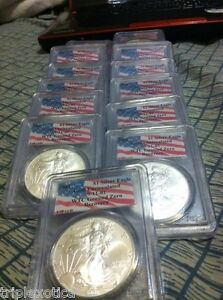 Click now to see the BUY IT NOW Price! 2001 PCGS WTC RECOVERY 1 OF 1440  AMERICAN SILVER EAGLE         FIVE COINS