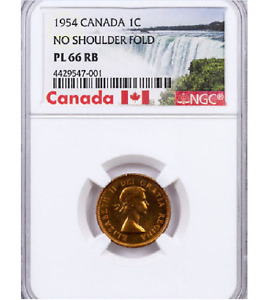 Click now to see the BUY IT NOW Price! 1954 CANADA 1 CENT  NSF NGC PL 66 RB.   NO SHOULDER FOLD VARIETY 1 CENT