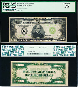 Click now to see the BUY IT NOW Price! $10 000 1934 FRN   GENUINE ULTRA HIGH DENOMINATION  DALLAS  PCGS VF 25