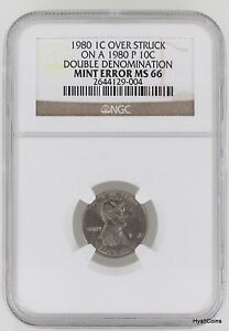 Click now to see the BUY IT NOW Price! 1980 CENT 1C OVER STRUCK 1980 P DIME 10C DOUBLE DENOMINATION MINT ERROR NGC MS66