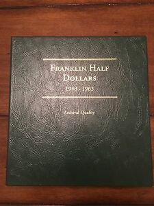 Click now to see the BUY IT NOW Price! 1948 1963 FRANKLIN HALF DOLLAR SET IN LITTLETON ALBUM   47 COINS   UNC & PROOF