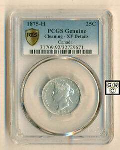 Click now to see the BUY IT NOW Price! CANADA 1875 H   25 CENTS COIN  PCGS GENUINE CLEANING   XF DETAILS