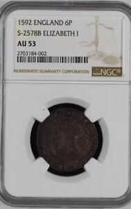 Click now to see the BUY IT NOW Price! 1592 ELIZABETH 6 PENCE NGC AU 53 FULL EARRING     MAKE OFFERS TOP POP