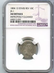 Click now to see the BUY IT NOW Price! 1804 DRAPED BUST DIME 13 STARS REV JR 1 NGC AU DETAILS CERTIFIED COIN   JX667