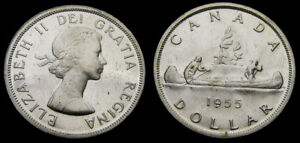 Click now to see the BUY IT NOW Price! CANADA 1955 SILVER ONE 1 DOLLAR PIECE QUEEN ELIZABETH II PL 64