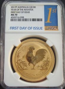 Click now to see the BUY IT NOW Price! 2017 P AUSTRALIA G$100 DOLLARS GOLD YEAR OF THE ROOSTER FIRST DAY MS70 NGC