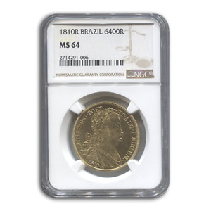Click now to see the BUY IT NOW Price! 1810 BRAZIL GOLD 6 400 REIS PRINCE REGENT JOHN MS 64 NGC