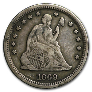 Click now to see the BUY IT NOW Price! 1869 S LIBERTY SEATED QUARTER VF   SKU153832