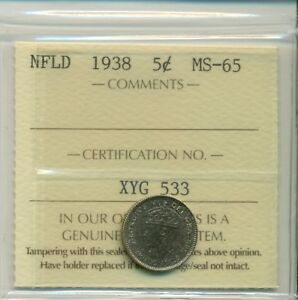 Click now to see the BUY IT NOW Price! NFLD ICCS 1938 5 CENTS MS 65 XYG 533