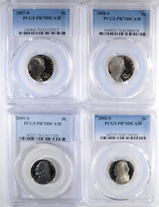 Click now to see the BUY IT NOW Price!  4  JEFFERSON NICKELS ALL PCGS PR 70 DCAM: 2001 S 2003 S 2007 S & 2008 S