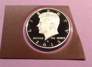 2013 S GEM PROOF KENNEDY HALF FROSTED CAMEO IN ORIGINAL PLASTIC CUT FROM PRF SET