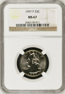 Click now to see the BUY IT NOW Price! 1997 P & D WASHINGTON CLAD 25C QUARTERS MS67 NGC MS 67