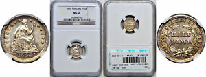 Click now to see the BUY IT NOW Price! 1854 SEATED LIBERTY HALF DIME NGC MS 66 ARROWS