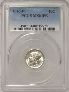 Click now to see the BUY IT NOW Price! 1916 D MERCURY DIME 10C PCGS MS64FB CERTIFIED   DENVER MINT   JX846