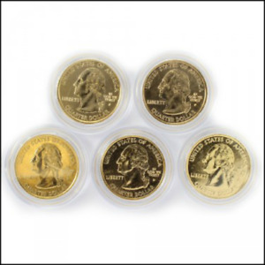Click now to see the BUY IT NOW Price! 24K GOLD PL. 2008 STATE HOOD QUARTER SET