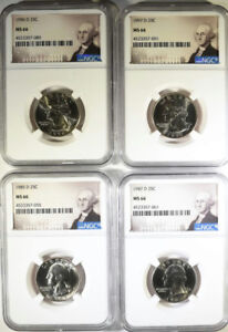 4  WASHINGTON QUARTERS: 1985 D 1987 D 1996 D AND 1997 D ALL NGC MS 66
