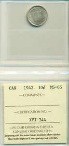 Click now to see the BUY IT NOW Price! ICCS CAN 1942 10 CENTS MS 65 XVI 344