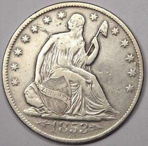 1853 O ARROWS & RAYS SEATED LIBERTY HALF DOLLAR 50C   VF DETAILS    COIN