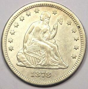 1878 CC SEATED LIBERTY QUARTER 25C   SHARP DETAILS   NICE LUSTER    COIN
