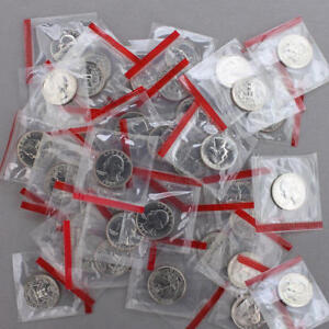 1987 D WASHINGTON QUARTER MINT CELLO BU ROLL 40 US COIN LOT