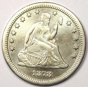 1878 CC SEATED LIBERTY QUARTER 25C   SHARP DETAILS    CARSON CITY COIN