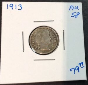 1913 BARBER DIME IN AU   CONDITION