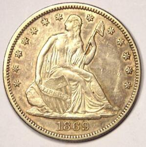 1869 SEATED LIBERTY HALF DOLLAR 50C   SHARP DETAILS    DATE COIN