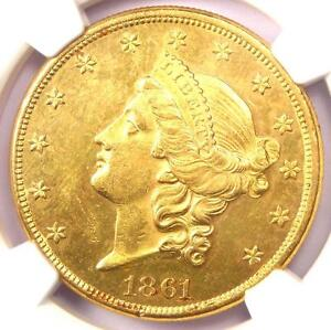 1861 LIBERTY GOLD DOUBLE EAGLE $20 COIN   NGC UNCIRCULATED DETAILS  UNC MS BU