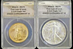 Click now to see the BUY IT NOW Price! 1986 FIRST YEAR PERFECT MS70 SET   $50 1 OZ AMERICAN GOLD EAGLE AND SILVER EAGLE