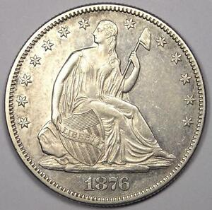 1876 SEATED LIBERTY HALF DOLLAR 50C   SHARP DETAILS   NICE LUSTER    COIN