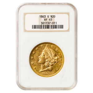 CERTIFIED US GOLD $20 LIBERTY 1863 S XF45 NGC