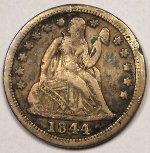 1844 SEATED LIBERTY DIME 10C   SHARP VF DETAILS  VERY FINE     DATE