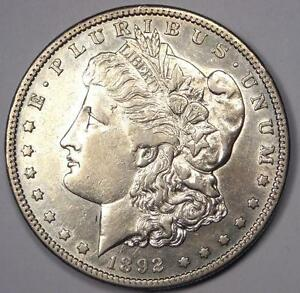 1892 S MORGAN SILVER DOLLAR $1   AU DETAILS    DATE THIS SHARP