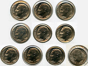 Click now to see the BUY IT NOW Price! ROOSEVELT DIME SET 1980   1989 UNCIRCULATED COINS   DENVER MINT   AG264
