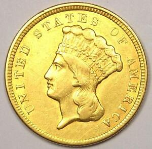 1854 INDIAN THREE DOLLAR GOLD COIN  $3    AU DETAILS    COIN