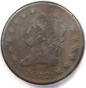 1812 CLASSIC LIBERTY LARGE CENT 1C   ANACS VF30 DETAILS    DATE PENNY