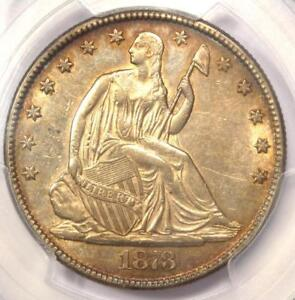 1873 SEATED LIBERTY HALF DOLLAR 50C COIN  NO ARROWS    CERTIFIED PCGS AU DETAIL